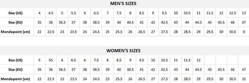 Snowboarding Boot Size Chart