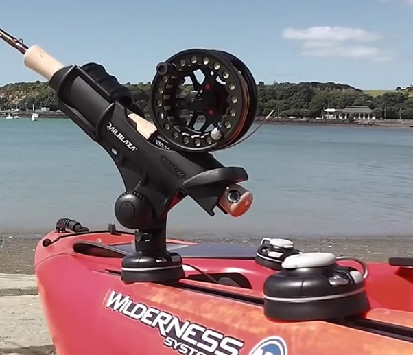 kayak with fly rod holder