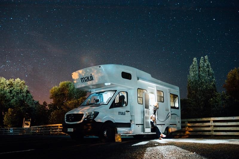 rv camper night