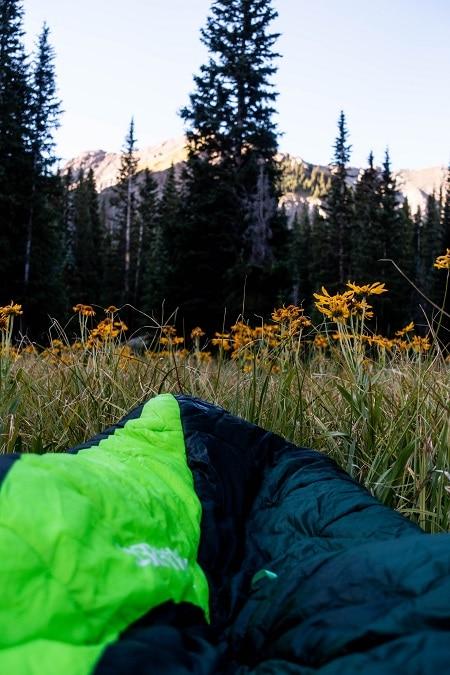 sleeping bag in field