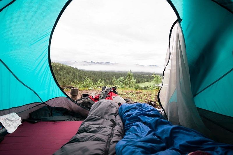 sleeping bags in tent
