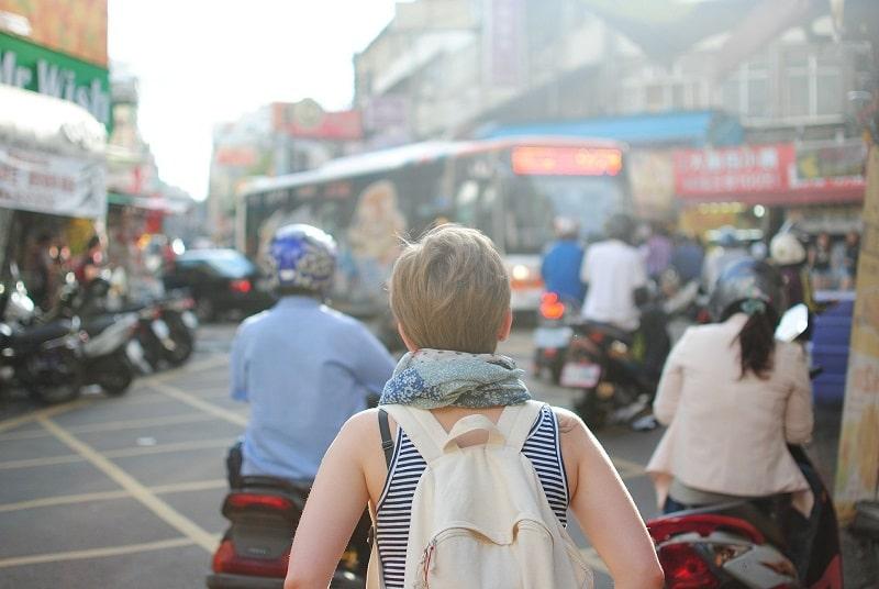 female backpacker in Asia