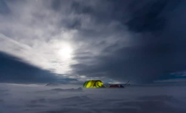camping tent in winter