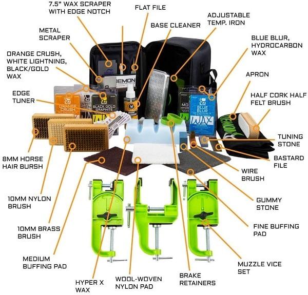 wax iron file stones brushes ski tuning kit components
