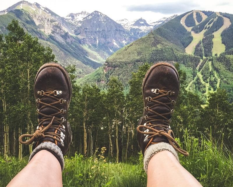 woman wearing hiking boots