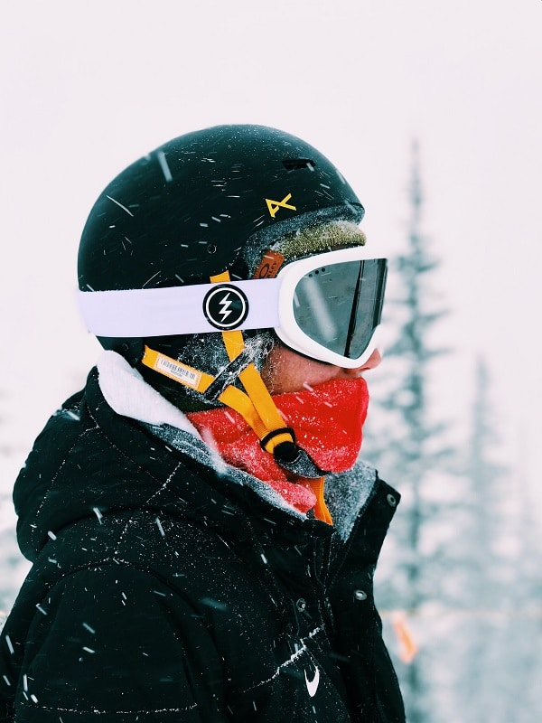 ski goggles and neck warmer