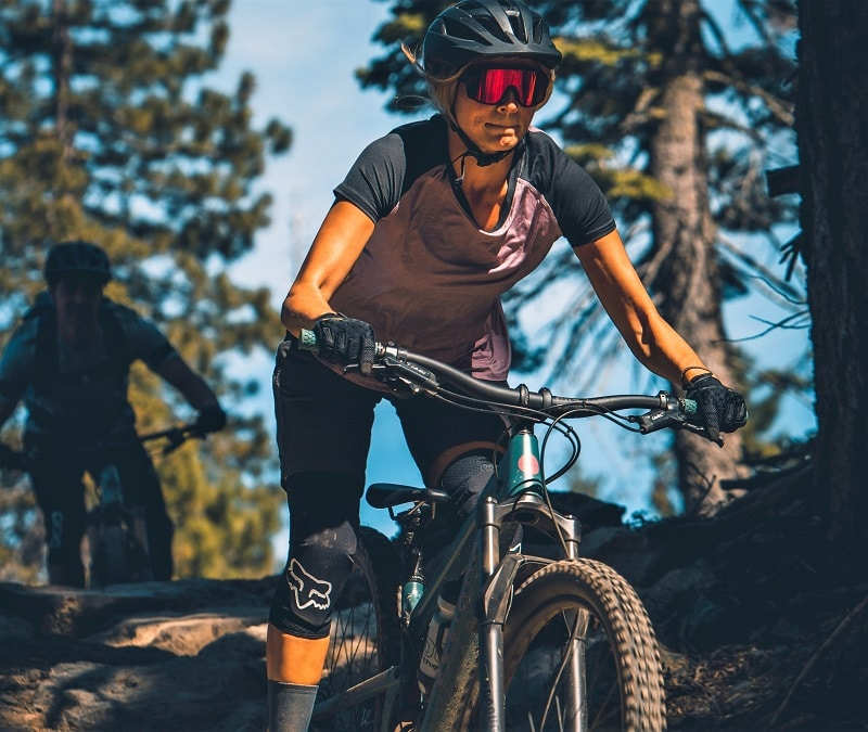 mountain biker with gloves in action