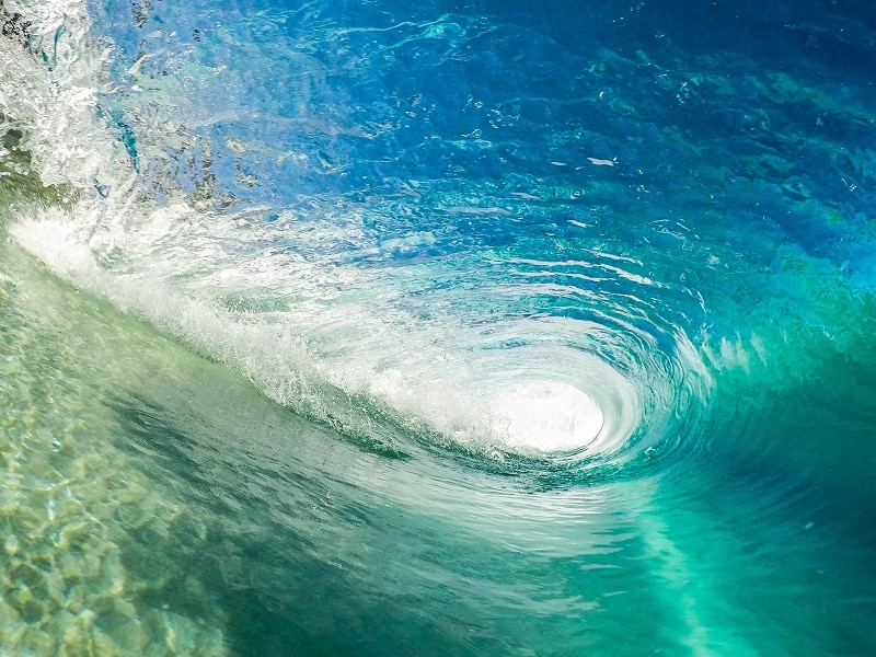 wave surfing footage from gopro action camera