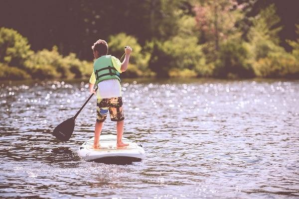 child paddleboarding