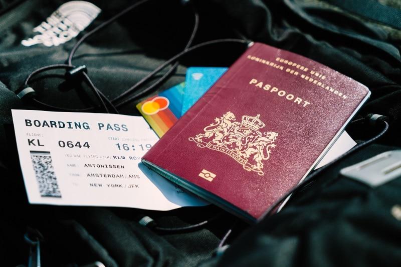 passport boarding pass for air travel flight