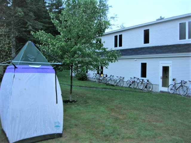 shower tent after storm