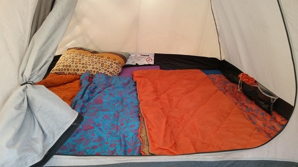 sleeping bags in camping tent