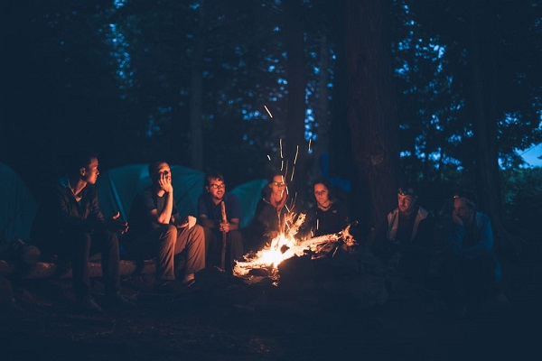 start a campfire while camping